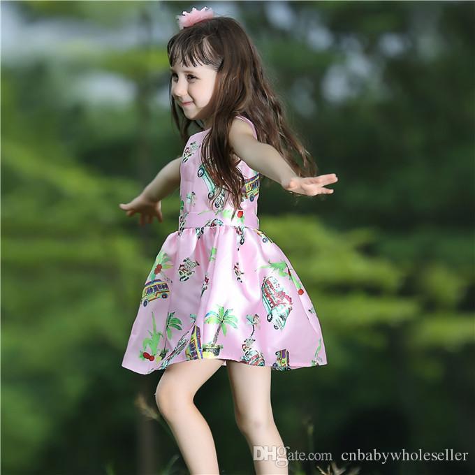 Pettigirl Nouvel Été Tissé Enfant Filles Rose Robe Avec Imprimer Floral Princesse Fille Fleur DressES Pour Enfants Vêtements GD80727-2L