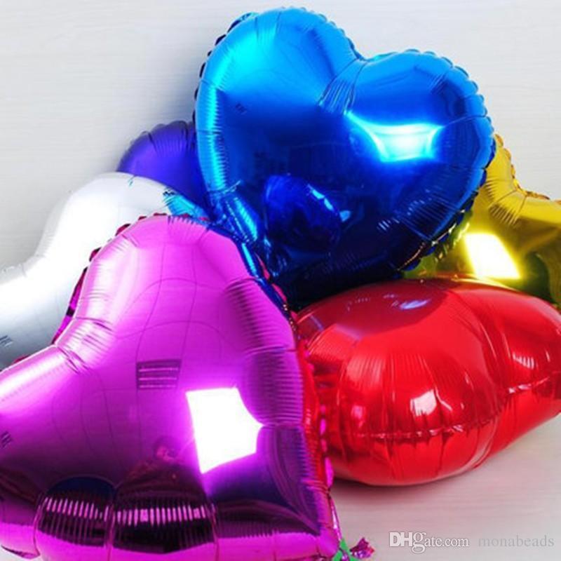 7 unids / lote 18 '' pulgadas helio globos de globos globo rojo en forma de corazón globos para la sala de bodas decoración del día de San Valentín suministros baloes