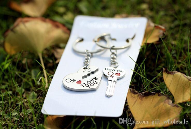 Neues Paar ICH LIEBE DICH Herz Keychain Ring Schlüsselanhänger Schlüsselanhänger Liebhaber Romantische Kreative Geburtstagsgeschenk