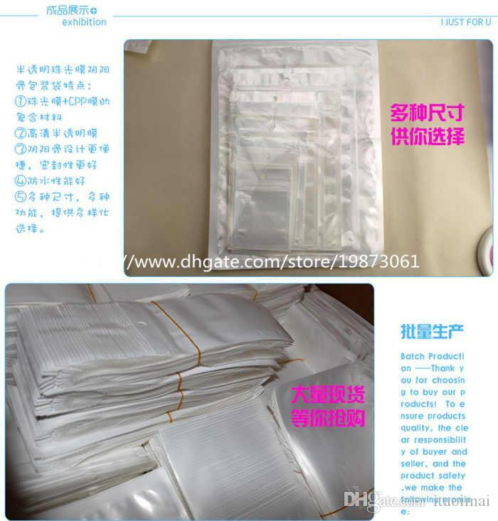 Claro + Blanco Perla Plástico Poli OPP Embalaje Cremallera Bloqueo de cremallera Paquetes al por menor Joyería comida PVC bolsa de plástico 10 * 18cm 12 * 15 cm 7.5 * 12 cm
