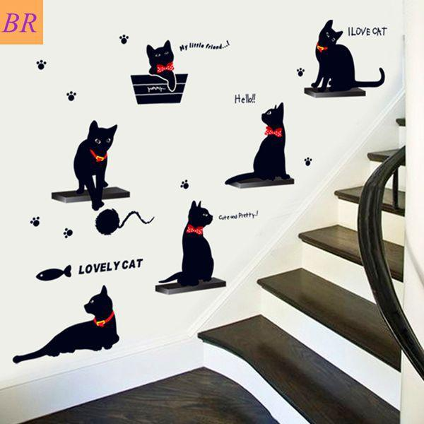 To Brazil Russia Wall Stickers Removable Decor Cute Black Cat Wall - Custom vinyl wall decals cats