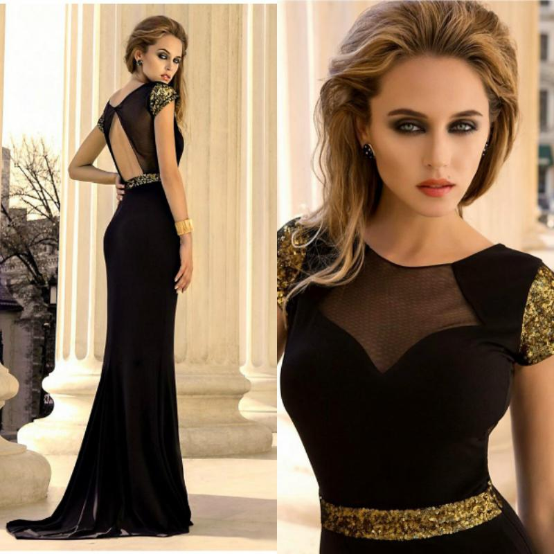 Black Gold Elegant Long Scoop Mermaid Sequin Formal Evening Dresses