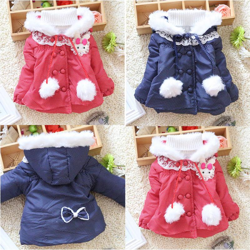 ff811a343bec Spotted Baby Snowsuit For 1 4 Year Kids Girls Hoodie Coat Outwear ...