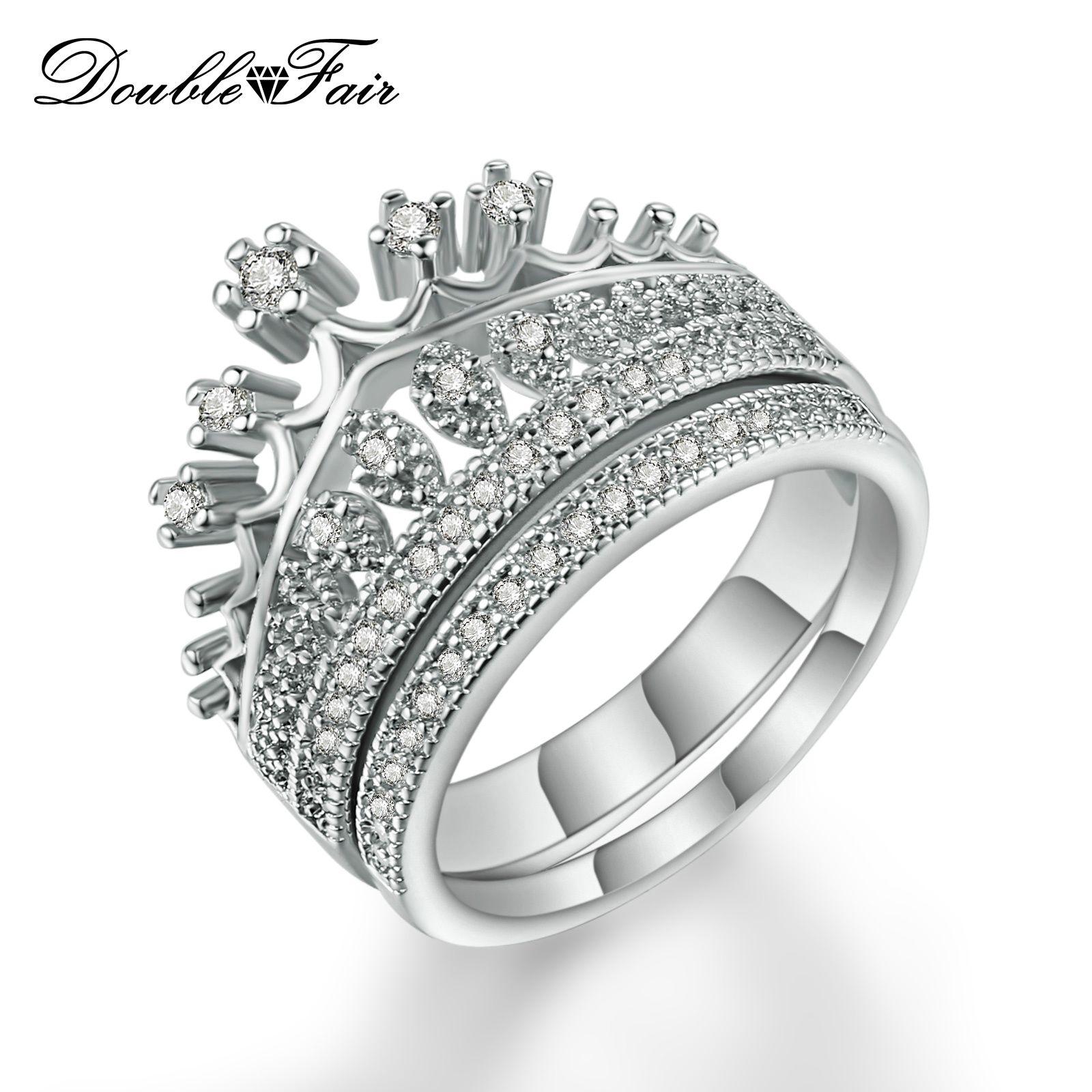 1d73b6e8fade Compre Calidad Superior De Imitación De Cristal Oro Blanco Plateado  Princesa Corona Conjuntos De Anillo De Bodas Para Las Mujeres De Moda Cubic  Zirconia ...