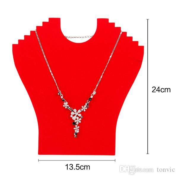 Großhandel 4 Schwarz / Rot Samt Halskette Ständer für