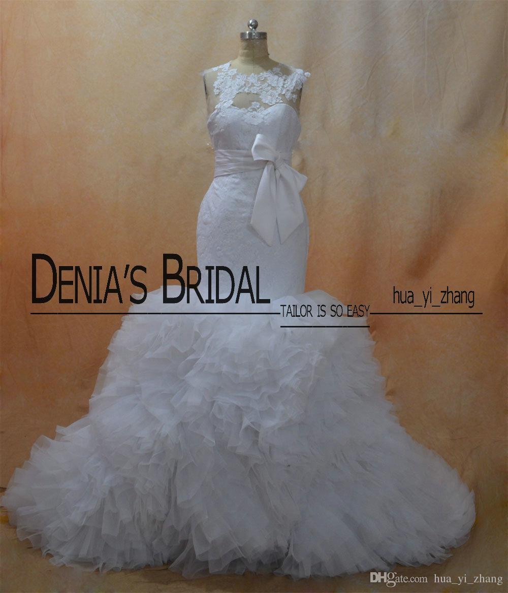 Sereia Vestidos De Noiva 2016 Sheer Crew Decote e Fechadura Para Trás Organza Capela Trem Vestidos de Noiva Real Imagens Inspiradas por Vestidos De Grife