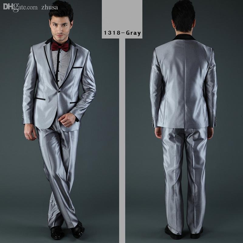 Wholesale-2015 New Style Fashion Suits Or Men Wedding Suit Silver ...
