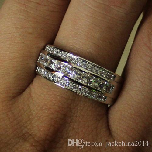 Victoria Wieck Jewelry de moda 10kt White Gold Llenó el zafiro Simulado Diamante Simulado Princesa Circle Band Anillo para las mujeres Tamaño de regalo 5-11