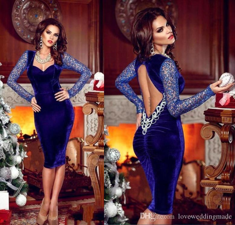 Exquisite Women Royal Blue Long Sleeves Knee Length Cocktail Party Dresses 2018 Sexy Keyhole Back Short Evening Gown