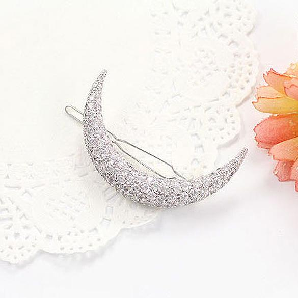 Crystal Moon Rhinestone Hair Clip Bang Clip Headdress Hairpin Clamps New