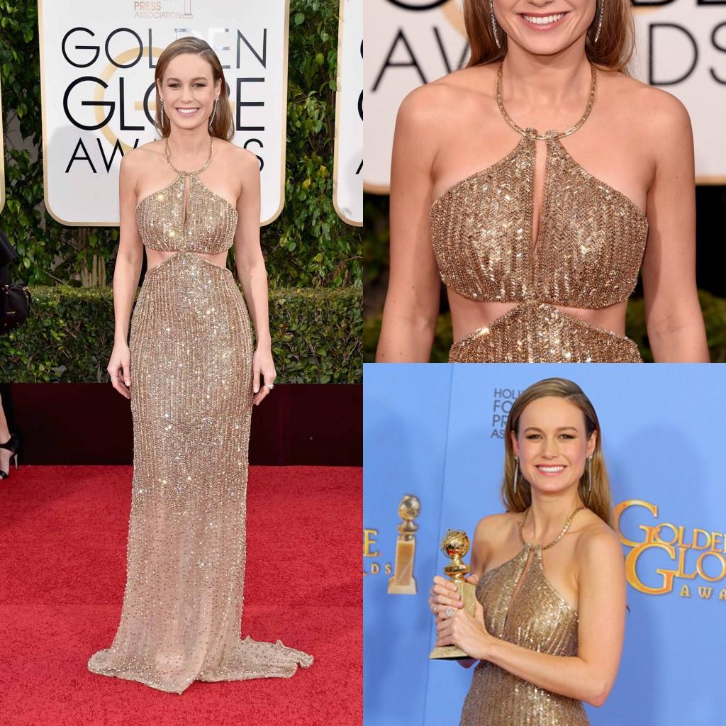 2017 Golden Globe Awards Sequins Golden Dresses Halter Heavy Beaded On Skirt Celebrity Red Carpet Formal Dresses Evening Wear