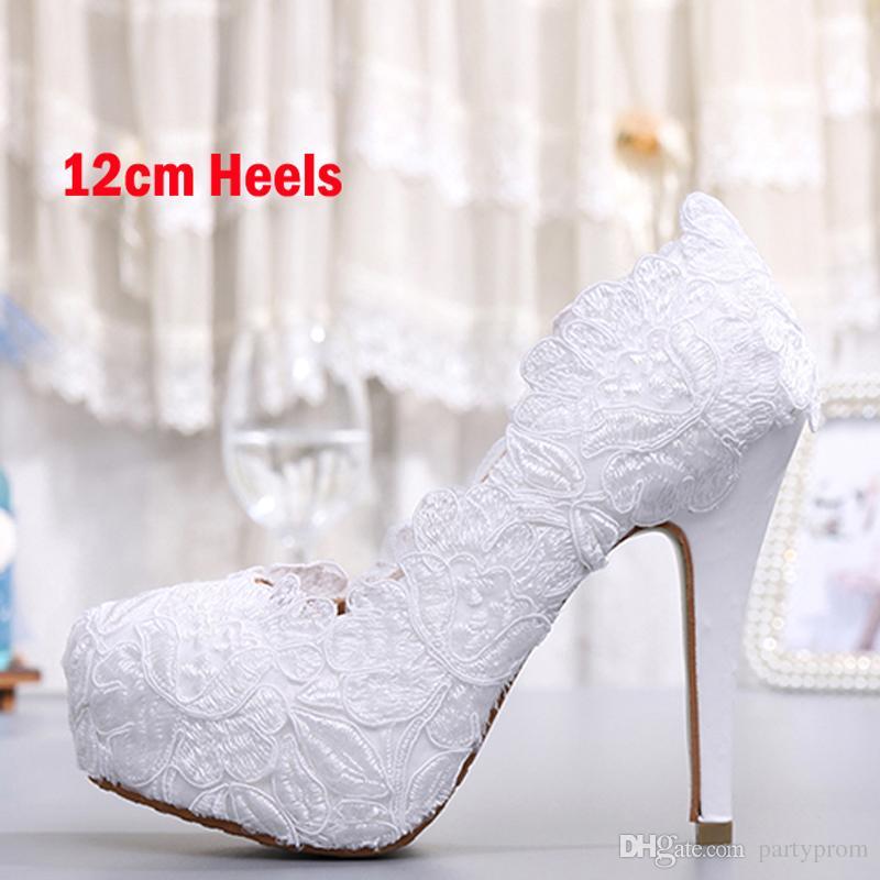 Мода Белый Кружева Высокий Каблук Свадебные Туфли Невесты Платье Обувь Элегантный Партия Украшенные Пром Обувь Леди Танцевальная Обувь
