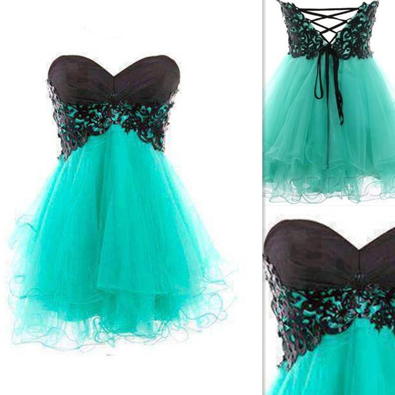 2015 Short Prom Dresses Vintage Mint Green Tulle Appliques Black