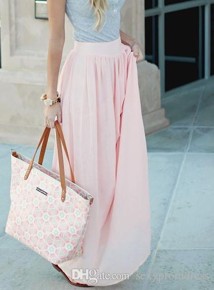 2015 Pink Long Chiffon Skirts Free Size Custom Made A-line Floor Length Women Clothing Daily Wear Cheap Skirt