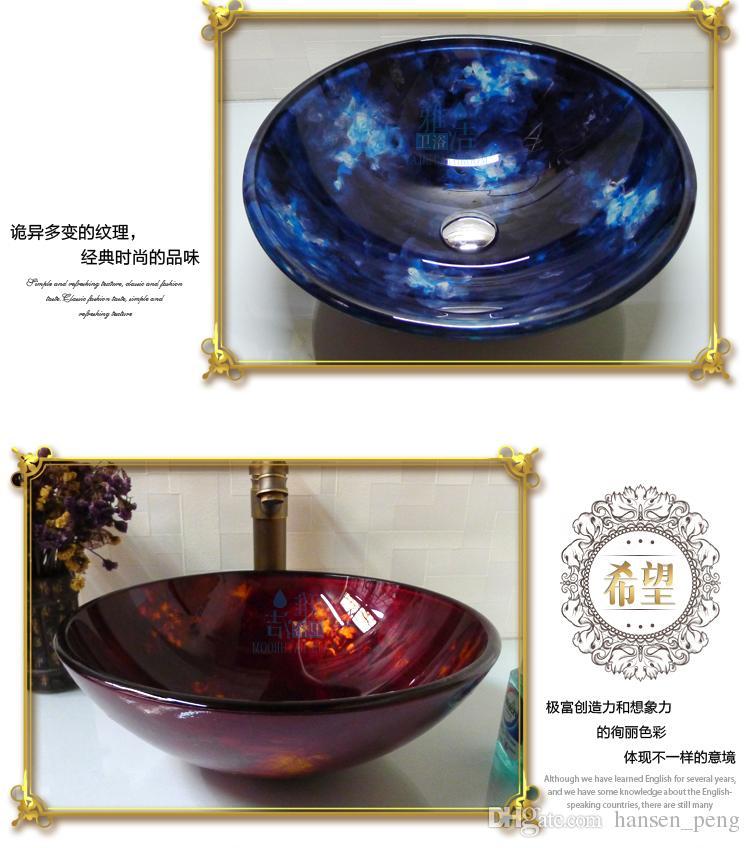 Bathroom tempered glass sink handcraft counter top round basin wash basins cloakroom shampoo vessel bowl HX008