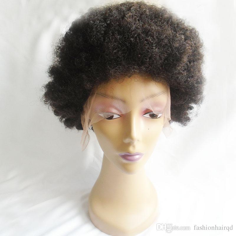 Ucuz Afro Kıvırcık Dantel Ön Peruk African African Kısa Hint Virgin İnsan Saç Siyah Kadınlar Için Tam Dantel Peruk 130% Yoğunluk