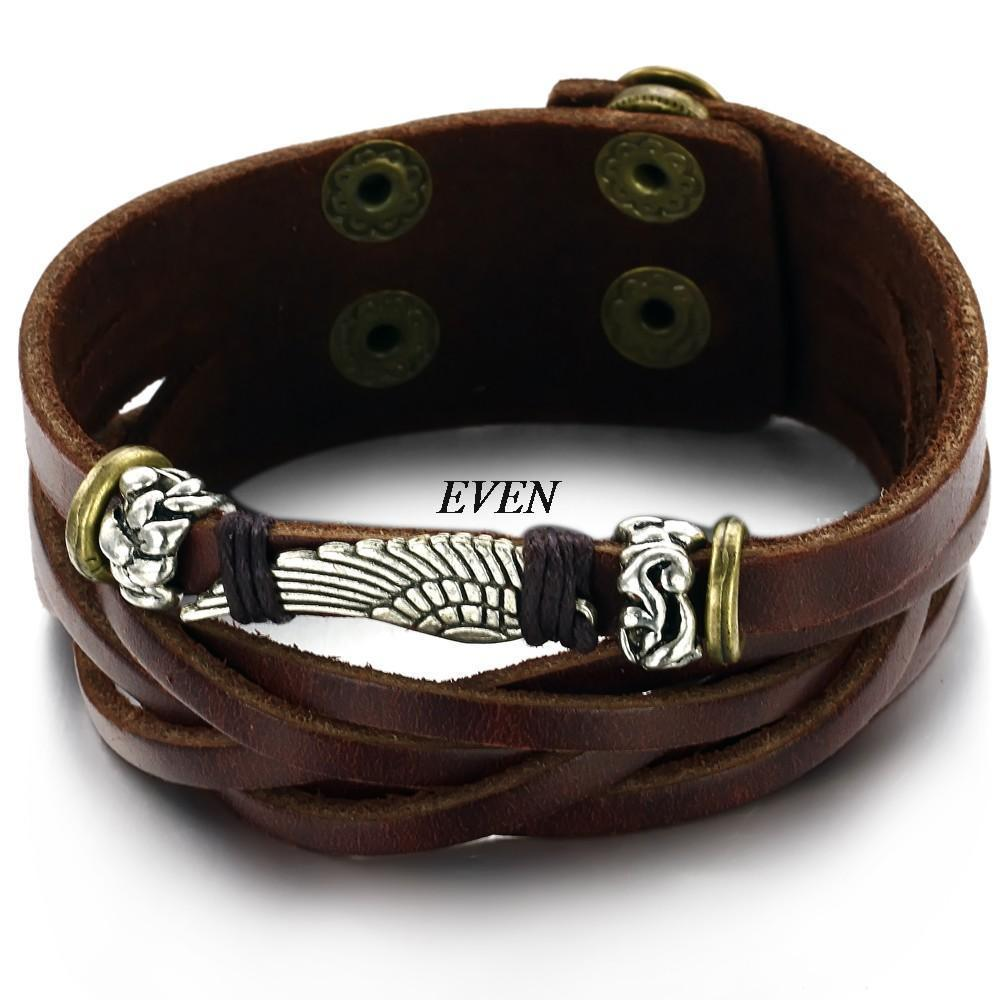 Bracelets & Bangles Fine New Style Vintage Antique Wide Belt Genuine Leather Bracelets Bangles Punk Style Knitted Bracelet Men Jewelry Diy Handmade Braid Attractive Designs; Charm Bracelets