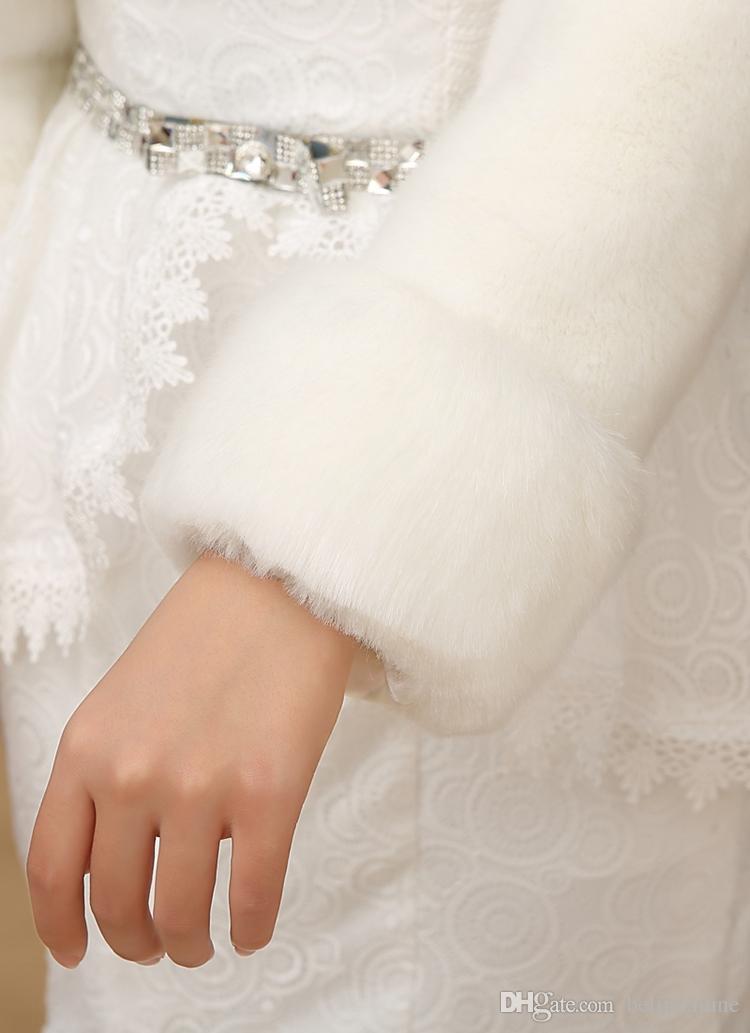 겨울 결혼식 화이트 액세서리 목도리 신부 들러리 파티 2016 년 증권 저렴한 가짜 모피 신부 랩 케이프 신부 재킷 코트