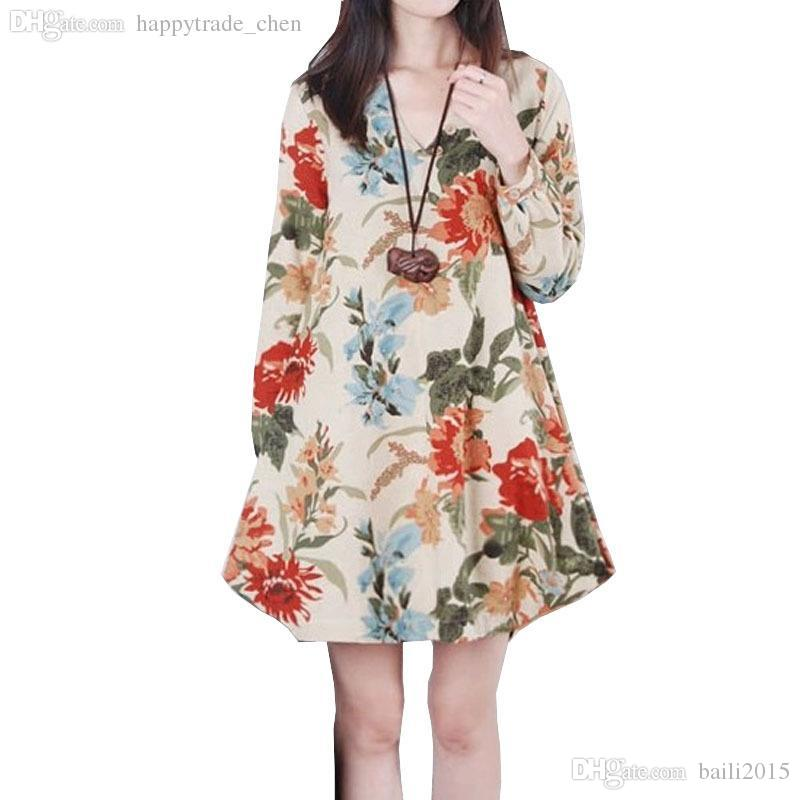 Wholesale-Dresses Maternity Plus Size Print V-neck Loose Long Sleeve Vestido Para Gravida Clothing For Pregnant Women Pregnancy Clothes