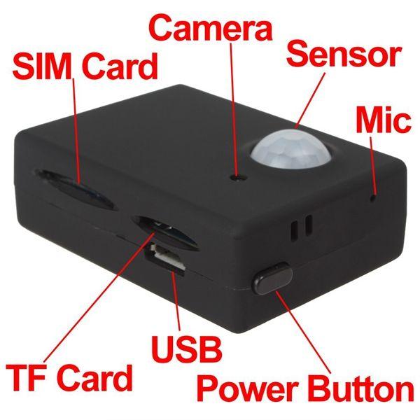 Inalámbrico Mini 1.3M Cámara de infrarrojos Seguridad de video GSM Autodial Home Office GPS PIR MMS Sistema de alarma