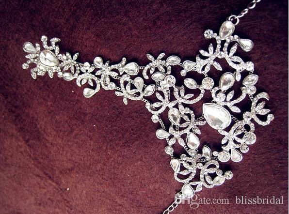 Perfeito Mão Nupcial Charm Bracelets De Cristal Frisado Jóias de Casamento Acessórios De Noiva Cadeia De Mão Com Anéis Frete Grátis