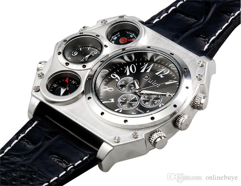 Olm 1349 Heren Dual Movement Sports Military Watch met Kompas Thermometer Decoratie Zwart Dial Big Size 5,8 CM Diameter Relogio