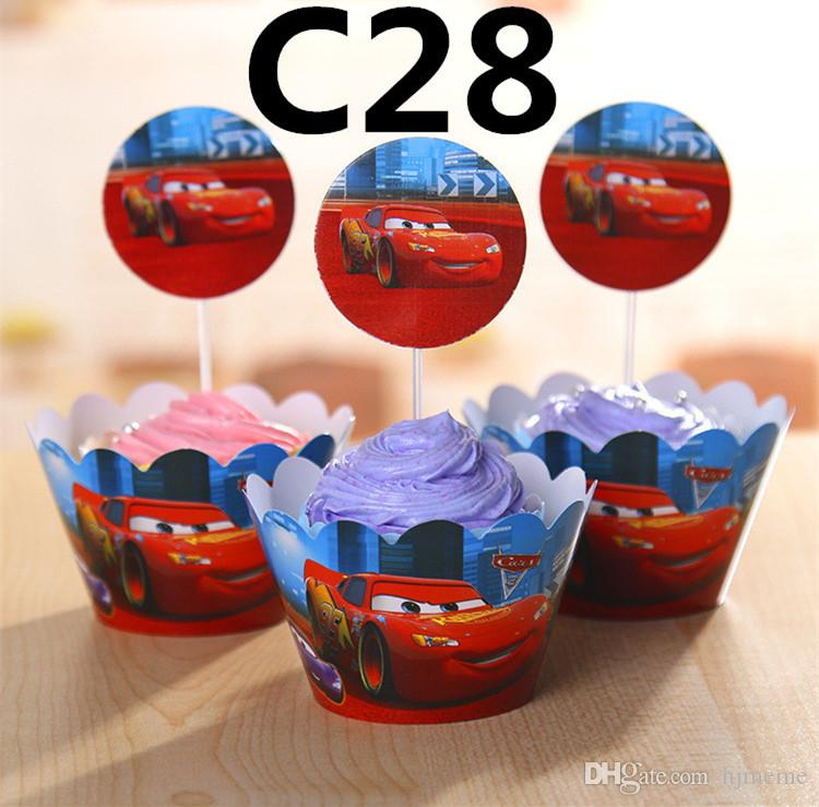 Party Decorations Event Cupcake Wrappers Lightning McQueen Fishing