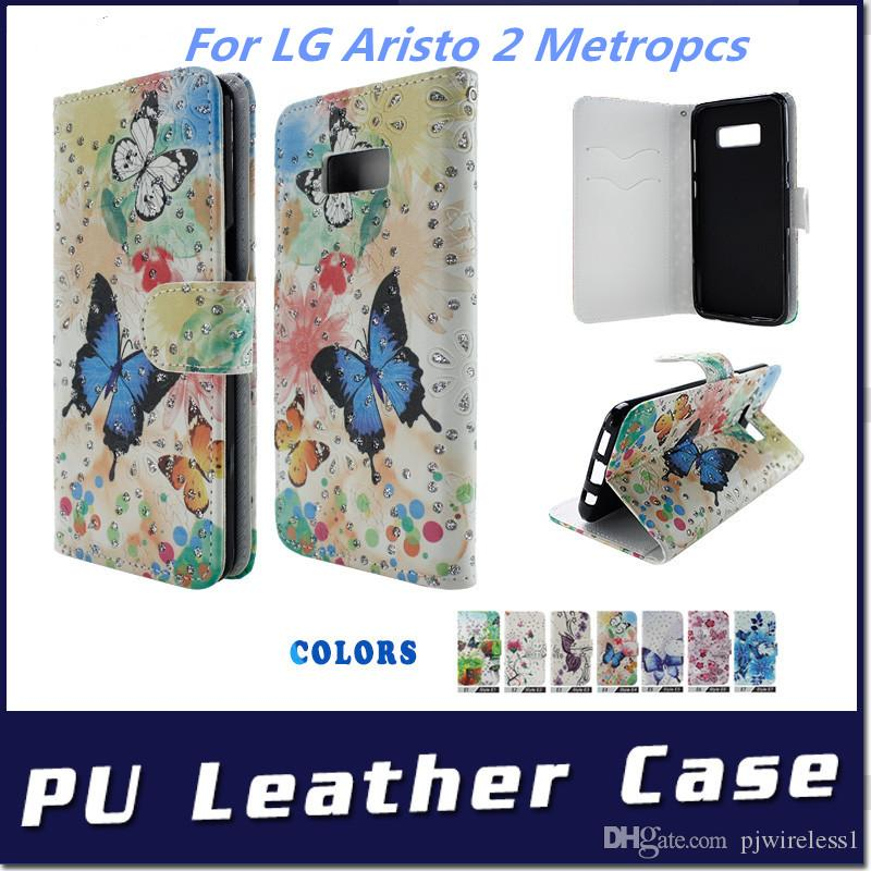 wallet Case For LG aristo 2 Metropcs X210 LV3 II High quality Flip PU  Leather pouch cover inside credit card Slots C
