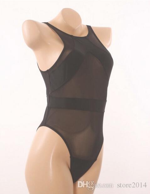 Nuova Mesh Black One Piece Swimwear Sexy Sexy Sexy Attraverso Bikini Monokini Vintage Costume da bagno Costume da bagno Costume da bagno