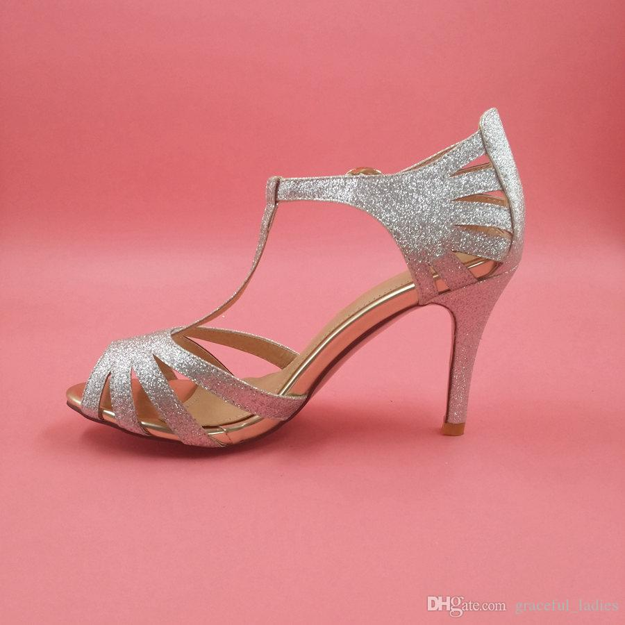 Silver Glitter Wedding Shoes Mid High Heel T Straps Buckle Closure ...