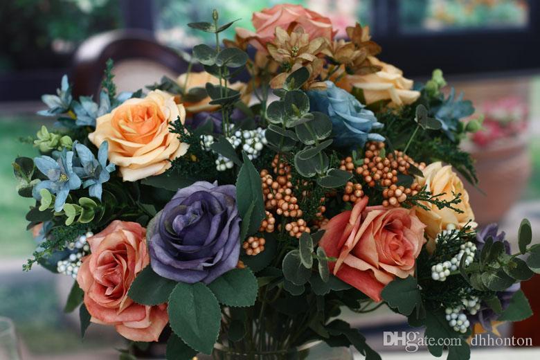 Europeanism artificial Canvas colour rose flower Decorative Flowers 49cm length with six big flowers good quality vases artificial flowe