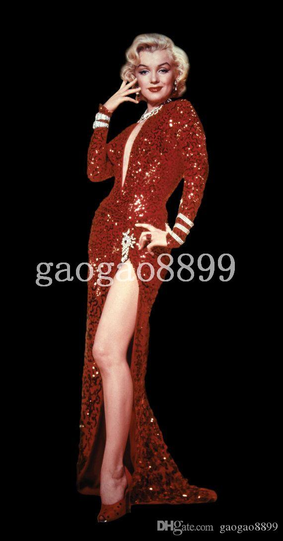 Amazing Sexy Famous Red Sequin Marilyn Monroe Dress Fashion Hot V-neck Full length Mermaid long sleeve Evening Dresses Cheap Prom Gown