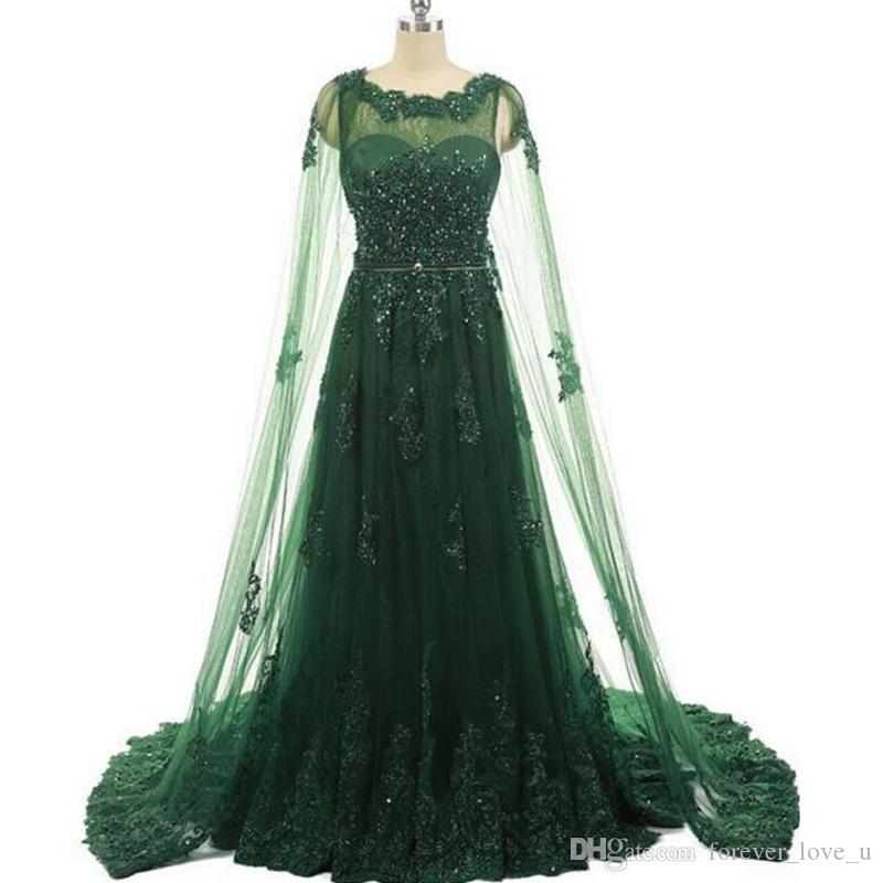 Arabic Evening Dresses Dark Green A Line Evening Gown With Cape ...