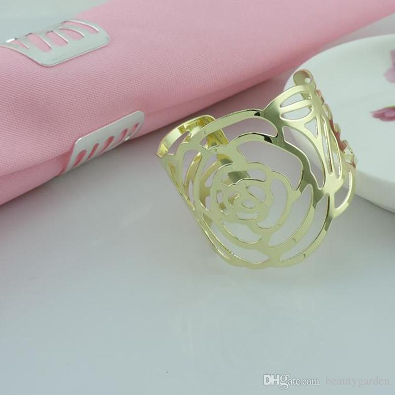 Pearl Paper Home Decor Stock Product India Napkin Rings: Cutout Rose Flower Style Serviette Napkin Rings Tablewear