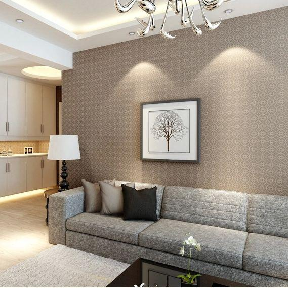 Modern chinese non woven wallpaper beige small grid for Beige living room wallpaper