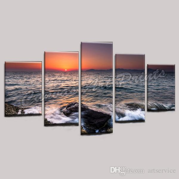 Cheap Wall Decorative Painting Framed Canvas Art Printing Picture on Canvas from Digital Seascape Painting for Home Decoration