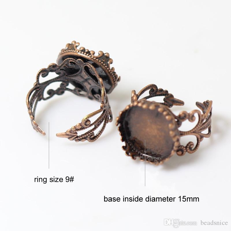Beadsnice anillo base en blanco hallazgos filigrana de latón anillo de dedo base camafeo ajuste ajuste cabujón ID 10124