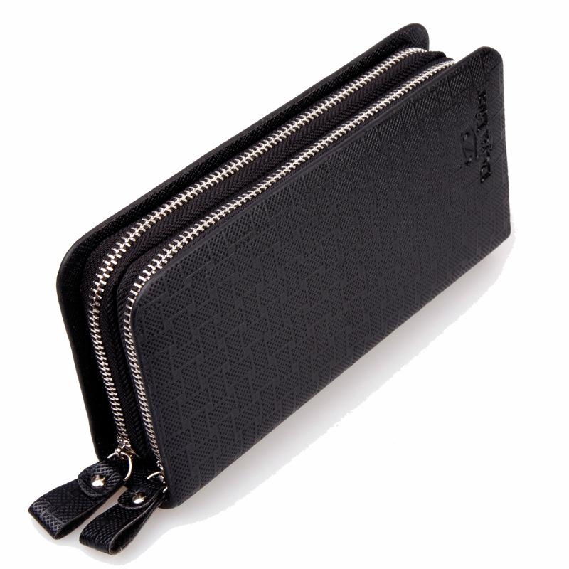 Men S Long Double Zipper Wallet Clutch Clutch Bag Large