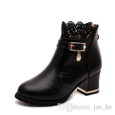 Womens Boots Autumn Winter 2017 Fashion Lace Hollow Out Ladies Shoes Woman Leather Sexy Ankle Boots For Women Botas Mujer