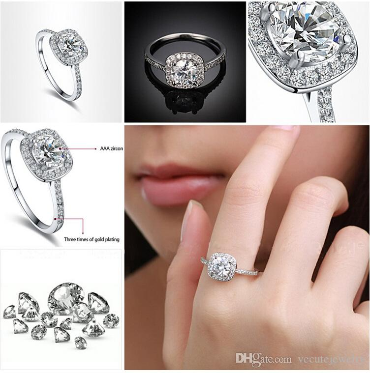 Luxury 18K Gold Silver Plated Wedding Rings Zirconia Crystal Ring for Women Made With Swarovski Elements Wedding Finger Rings High Quality