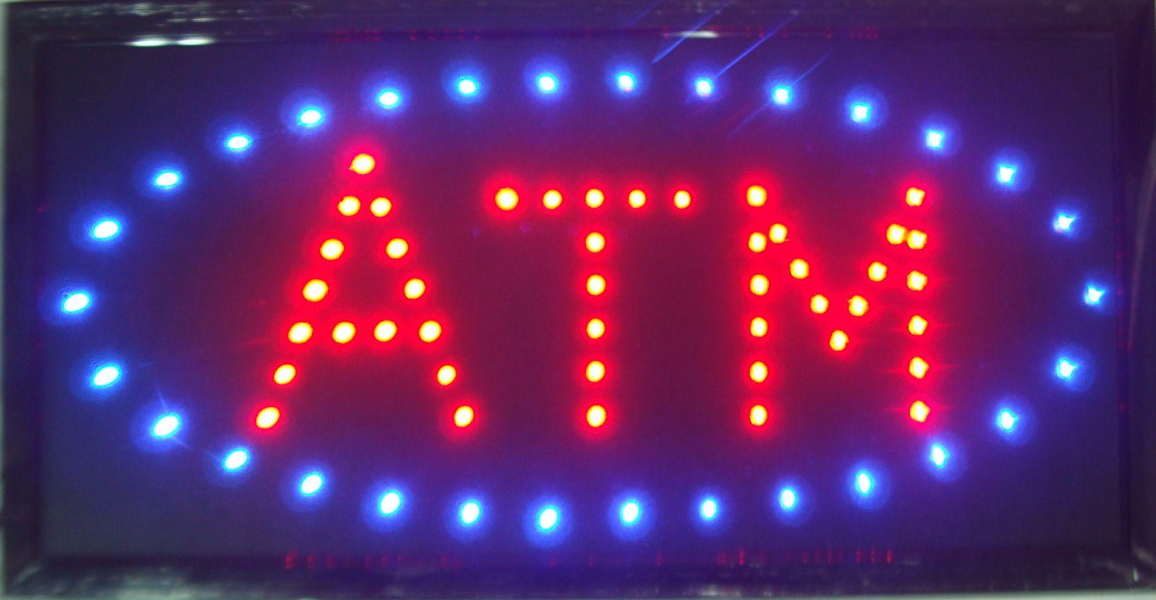 LED ATM 네온 사인 뜨거운 판매 사용자 지정 led 기호 10 x 19 인치 반 - 야외 매우 밝은 ATM 표시