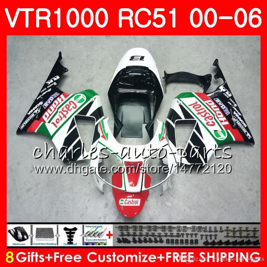 Body For HONDA white black RTV1000 VTR 1000 00 01 02 03 04 05 06 92NO53 VTR1000 RC51 SP1 SP2 00 2000 2001 2002 2003 2004 2005 2006 Fairing