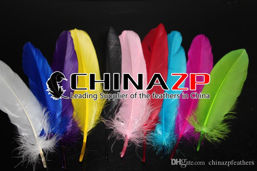 Newest Plumage CHINAZP Crafts Factory 100% Exporting 10~15cm4~6inch Top Quality Dyed Royal Blue DIY Decoration Goose Loose Feathers