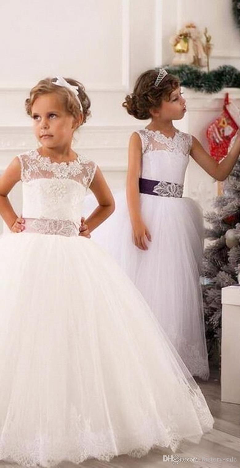 2015 Lovely Flower Girl Dresses Princess Sheer Straps Lace Appliques Sash Bow Ruffles Girl's Girl's Pageant BO8326