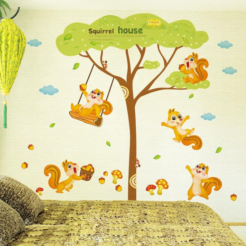 Squirrel House Wall Decal Sticker Squirrel Playing Under The Tree Wall Art  Mural Kids Room Decor Animal Forest Wall Applique Poster Vinyl Wall Decals  Kids ...