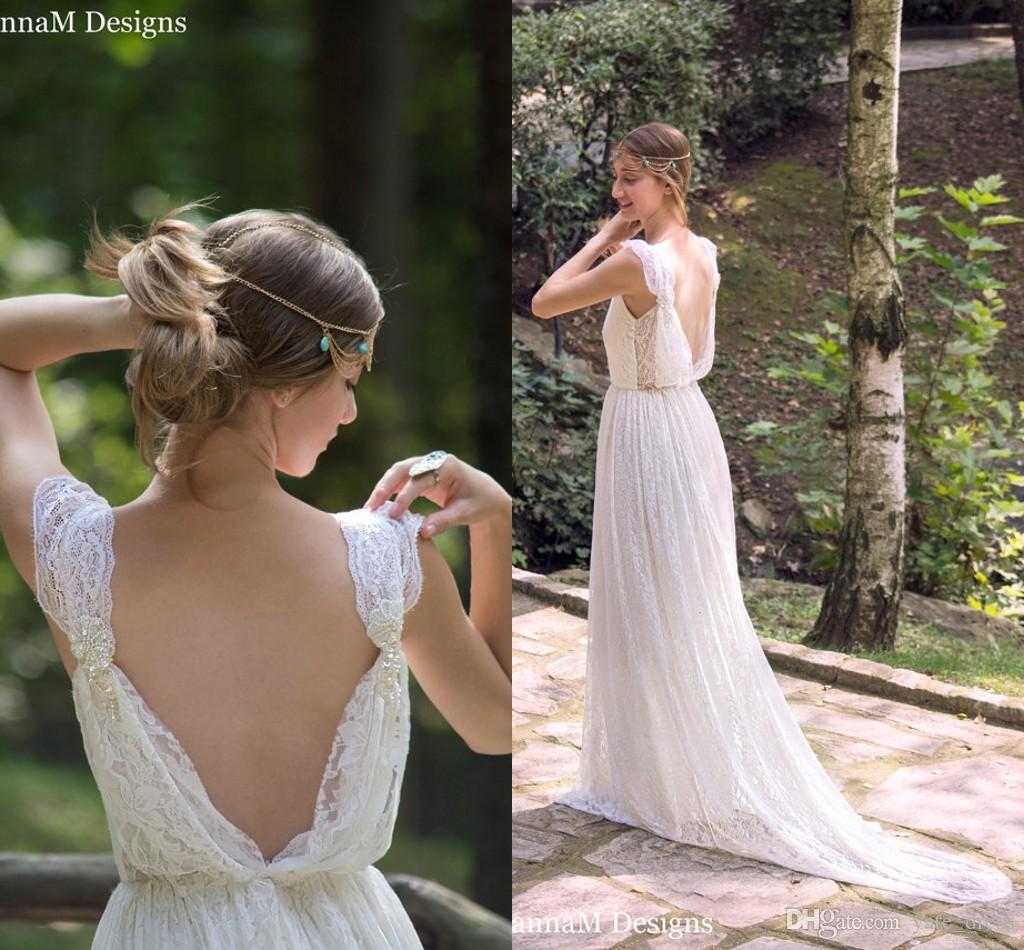 Großhandel Ivory Bohemian Brautkleid Schöne Spitze Hochzeit Langes ...