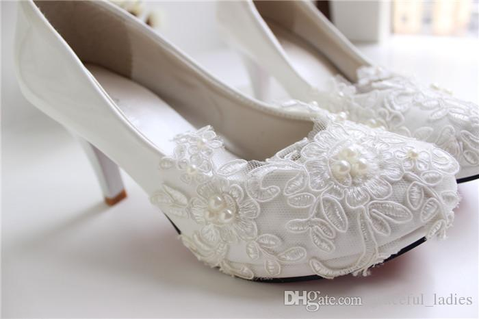 White Lace Wedding Shoes Kitten Heel Handmade 2015 Bridal Shoes Cheap Custom Made Heel Height Women Shoes for Wedding Bridesmaid Shoes