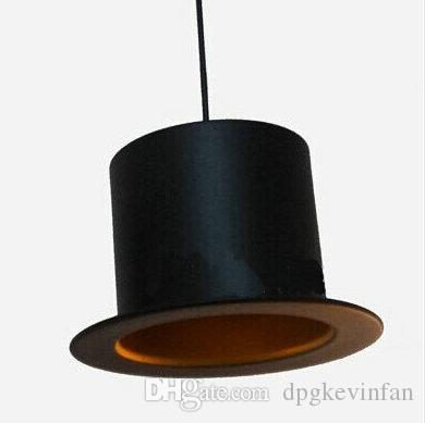 Jeeves Wooster Top Hat Lampade a sospensione design 110v 220v e27 portalampada luce cappello in alluminio la casa esterno nero interno dorato