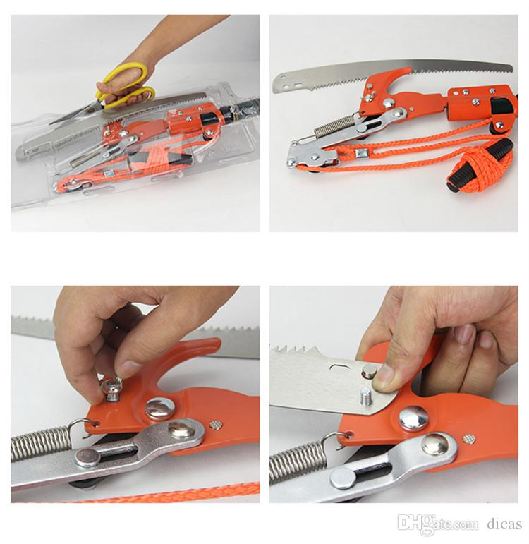 high altitude 3 pulley pruning scissors tree trimmer garden shears branches cutter saw fruit pick cutting tool without rod