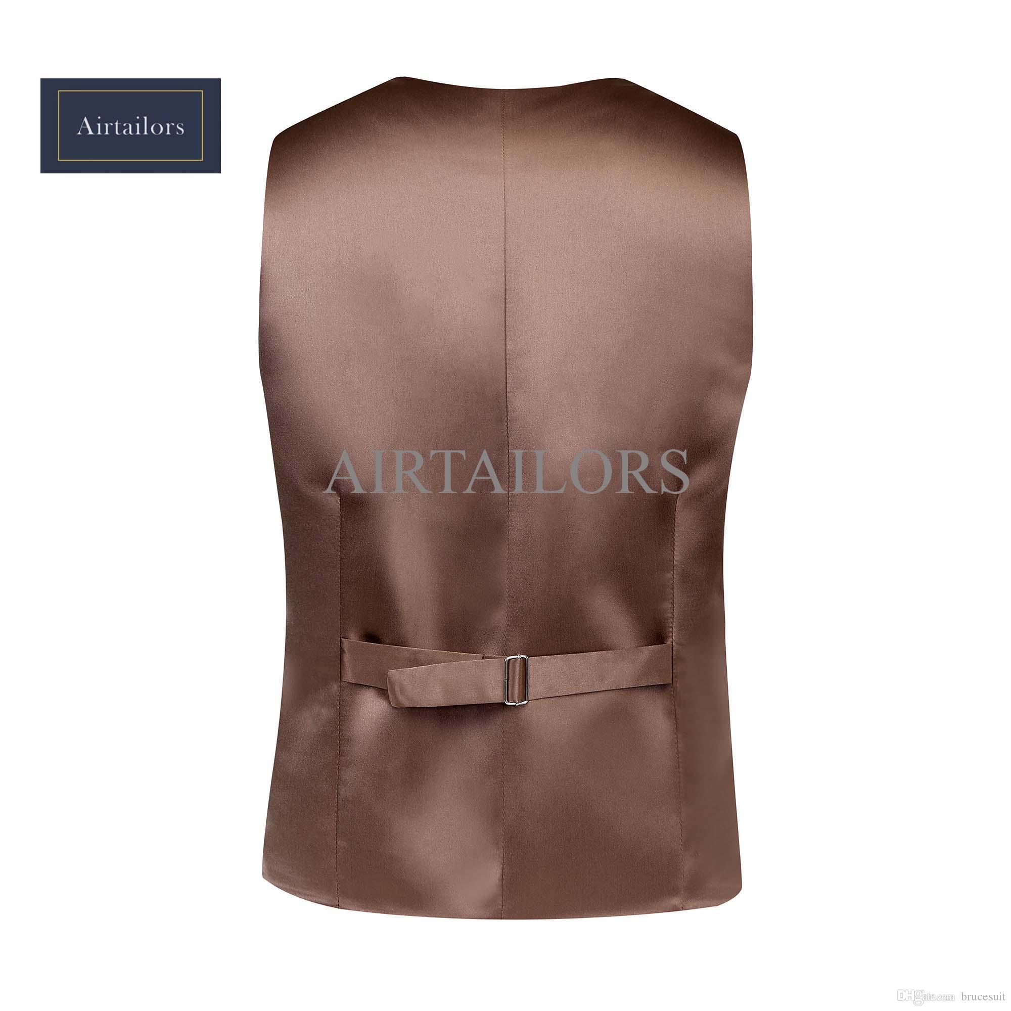 2019 Rustic Wedding Brown Wool Tweed Vest Men British Style Groom Vests Custom Made Mens Suit Vests Prom Wedding Waistcoat Mens Dress Vest